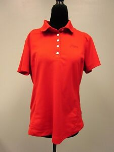 SAWGRASS POLO SHIRT NIKE GOLF DRI-FIT FIVE BUTTON DOWN RED WOMEN'S SIZE LARGE