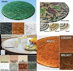 Elasticized Tablecloths Table Cover Marble Wood MAPLE Fitted Cover Fabric Back $27.97