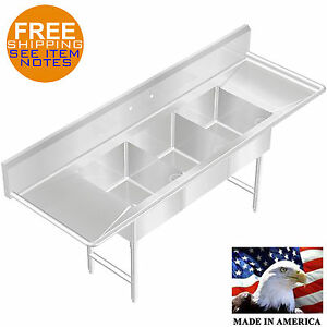 POT SINK 3 COMPARTMENT HEAVY DUTY 16GA STAINLESS STEEL MADE IN USA 90.5