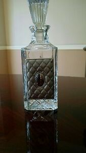 Crystal whiskey liquor decanter with stopper silver plate in front