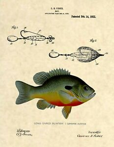 Official Fishing Lure US Patent Art Print- Antique Bluegill Sunfish Fish 378