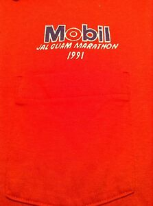 Vintage Mobil JAL Guam Marathon 1991 Red Polo Shirt Size Large Made in USA
