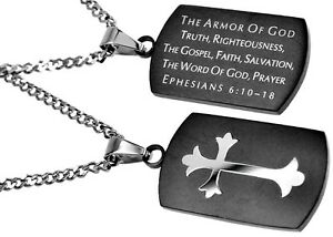 Armor of God Necklace Christian Dog Tag Ephesians 6 Bible Verse Black Pendant