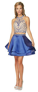 SEMI FORMAL TWO PIECE BIRTHDAY PARTY DRESS SHORT HOMECOMING COCKTAIL PROM DANCE