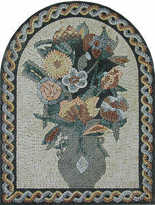 House Garden Decor Flowers Vase Accent Hand Made Marble Mosaic FL360