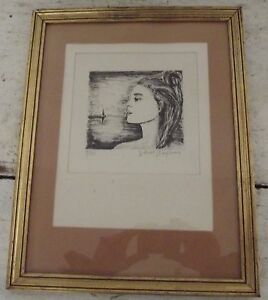 antique french XXth lithograph numbered 925 signed  Artists Gilbert Baglione