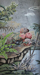 Charming Scenery Sea Lake Beach View Pink Flowers Hand Made Marble Mosaic LS126