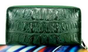 Alligator Real Purse Green 1 Zip Wallet  Genuine Crocodile Leather Womens Clutch