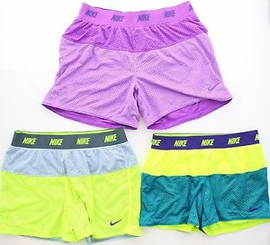Nike Girls Youth Pre Teen Reversible Running Sport Mesh Dri Shorts 52079 Sz XS-L