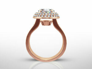 NEW DESIGN 3.60 CT G SI2 ROUND DIAMOND RING 14 K RED ROSE GOLD SIDE STONES