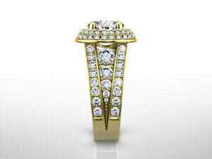 NEW DESIGN 3.60 CT D VS2 ROUND CUT DIAMOND RING 18 K YELLOW GOLD ACCENTS
