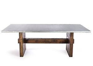 Zinc Table Zinc Dining Table - The Redford Rustic Trestle Zinc Top Dining Table