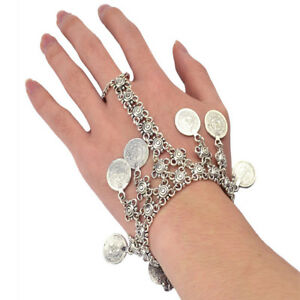Bohemia Silver Metal Finger Hand Chain Link Bracelet Slave Ring Coin Jewelry $7.07