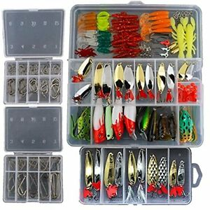 Smartonly1 Set 226Pcs Fishing Lure Tackle Kit Bionic Bass Trout Salmon Pike F...