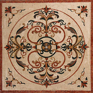 Roman Flower Stems Shades Round in Geometrical Design Marble Mosaic GEO2442