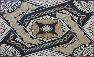 Enterlaced Line Overlap Mural Wall Floor Carpet Design Marble Mosaic GEO2466