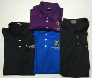 NIKE GOLF DRI FIT POLO SHIRT LOT 4 NWOT BLACK PURPLE BLUE XL CASUAL ATHLETIC