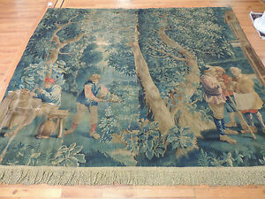 Museum Quality RARE French Tapestry 7x9 trees figures ca. 1880 garden design