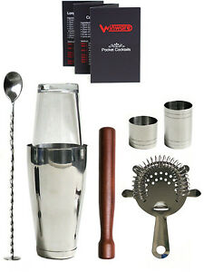 6 Items Cocktail Shaker Mixer Set Glass Drink Martini Bartend Tool Bar Gift Box