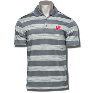 Under Armour Wisconsin Badger Golf Polo GreyWhite Stripes NWT 2016