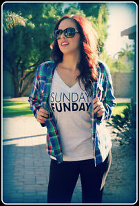 Sunday Funday Heather White Women's V Neck Football Game Day Shirt Casual