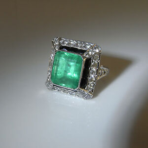 LARGE Art Deco Emerald Diamond Platinum Engagement Ring Wedding OMC OEC Filigree