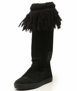 Authentic Chanel Sports line Mouton long boots black 35 12 (380140)