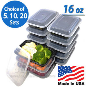 16oz Meal Prep Food Containers with Lids Reusable Microwavable Plastic BPA free