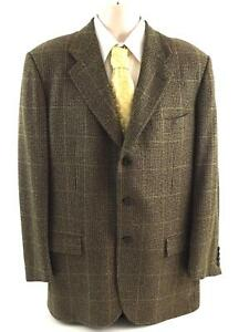 KITON Bergdorf Goodman 100% Cashmere Brown Plaid Older Sport CoatJacket