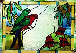 KING PARROTS & STURT DESERT PEA LEADLIGHT WINDOW GLASS Australian Native Designs