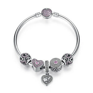 Authentic 925 Sterling Silver Beads Charm Bracelet with CZ Heart Pendant Bangle