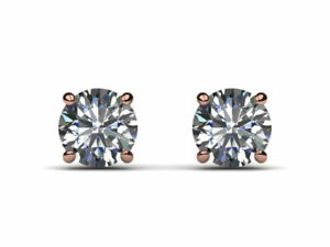 PERFECT 4.00 CT SI1 H ROUND DIAMOND EARRINGS SCREW BACK 14 K RED ROSE GOLD