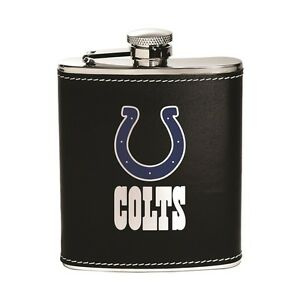 Indianapolis Colts Stainless Steel Flask [NEW] NFL Leather Drink Tailgate