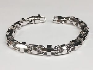 18k Solid White Gold Anchor Bullet Link Mens Chain Bracelet 8.5 MM 66 grms  8.5