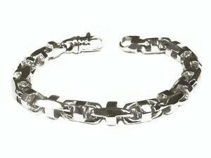 18k Solid White Gold Anchor Bullet Link Mens Chain Bracelet 8.5 MM 73grams  9.5