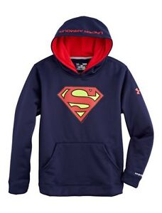 NWT UNDER ARMOUR BOY'S ALTER EGO SUPERMAN FLEECE STORM HOODIE SZ XL BLUE