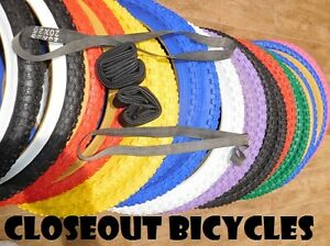 PAIR HD KNOBBY Dirt Old School BMX Bicycle TiresTubesRim Strips 20