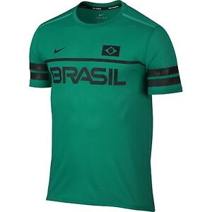 Nike Dry Top SS Energy Brazil  Running Dri-Fit T-Shirt  Sz S  Teal Charge