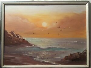 Fine Quality Art SEASCAPE quot;Waves crashing under Yellow Skyquot; Framed $35.00