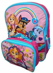 Paw Patrol Girls 16quot; Pink School Backpack Lunch Box Book Bag Combo SET Kids
