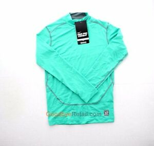 Nike Boy's Youth Pro Combat Dri Fit Compression LS Top Shirt 522803 Teal M