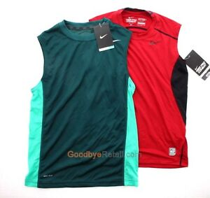 Lot of 2 Nike Boy's Youth Pro Combat Dri Fit Fitted Tank Top Shirt Green Red M