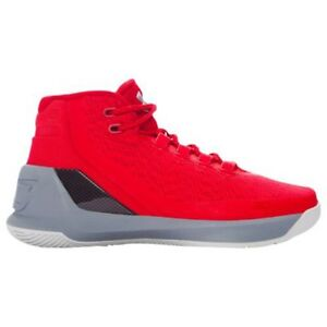 UNDER ARMOUR UA Kids Boys Curry 3 Basketball Shoes Sneakers Red Steel Grey