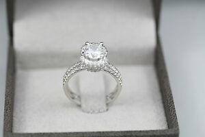 SPECIAL DESIGN 2.25 CARAT F VS1 ROUND DIAMOND RING 14 K WHITE GOLD WITH ACCENTS