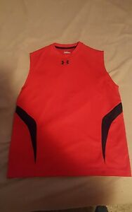 Men's Under Armour Shirt Red Sleeveless Cut Off Size Small