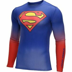 (M) Men's Under Armour Alter Ego Superman Compression Longsleeves Muscle Shirt