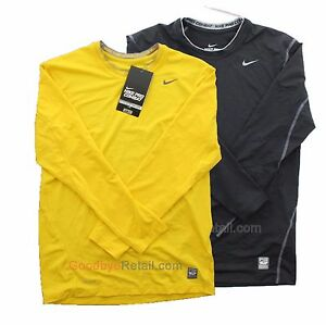 New Nike Boy's Youth Pro Combat Dri Fit Fitted Top Shirt 398186 Yellow Black M