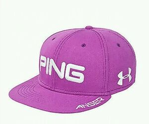 NWT PING ANSER UNDER ARMOUR HUNTER MAHAN FLAT BILL FITTED GOLF   HAT ML PURPLE
