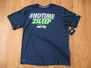 2013 Nike Russell Wilson NO TIME 2 SLEEP Dri Fit Size XL Seahawks Rare