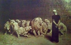 2 Christian Art Prints Daniel#x27;s Answer To The King and Daniel In The Lions Den $15.95